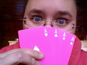 Try playing cards with two dyslexics and this deck.