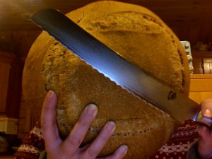 Big knife deserves big bread.